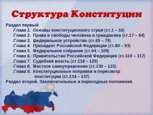 Раздел первый Глава 1. Основы конституционного строя (ст.1 – 16) Глава 2. Пра