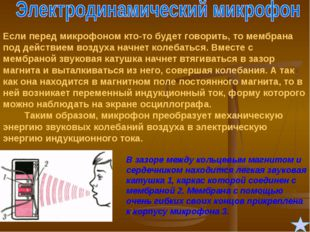 Если перед микрофоном кто-то будет говорить, то мембрана под действием воздух