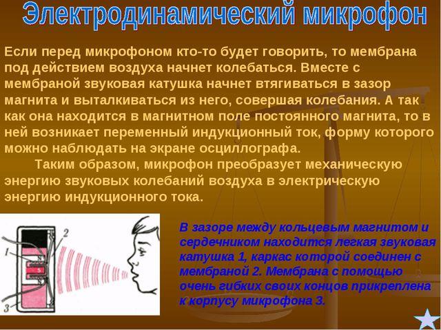 Если перед микрофоном кто-то будет говорить, то мембрана под действием воздух...
