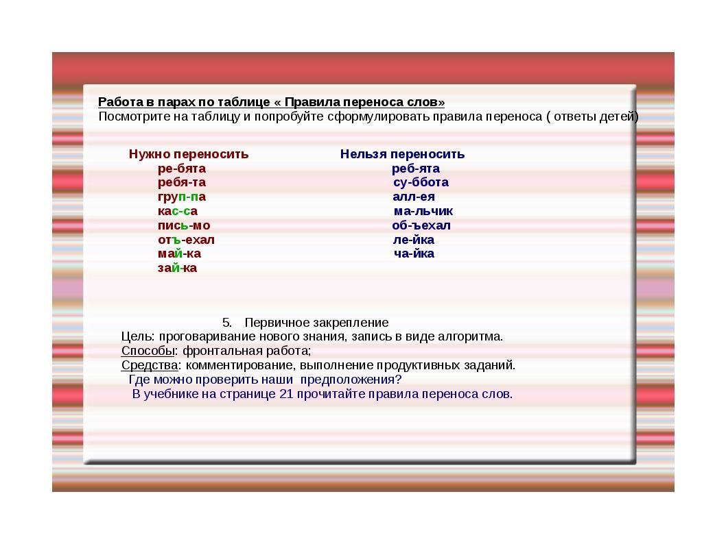 Работа в парах по таблице « Правила переноса слов» Посмотрите на таблицу и по...