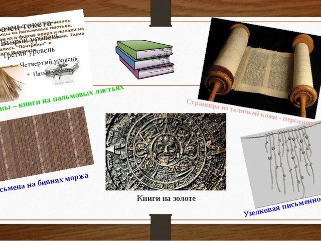 Лонтраны – книги на пальмовых листьях Письмена на бивнях моржа Книги на золот...