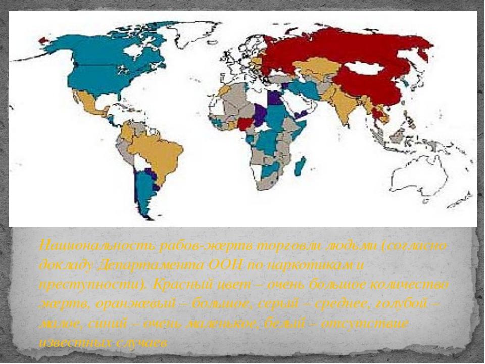 Национальность рабов-жертв торговли людьми (согласно докладу Департамента ООН...
