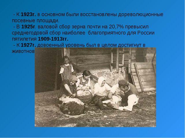- К 1923г. в основном были восстановлены дореволюционные посевные площади. -...