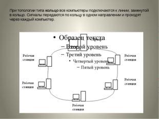 При топологии типакольцовсе компьютеры подключаются к линии, замкнутой в ко