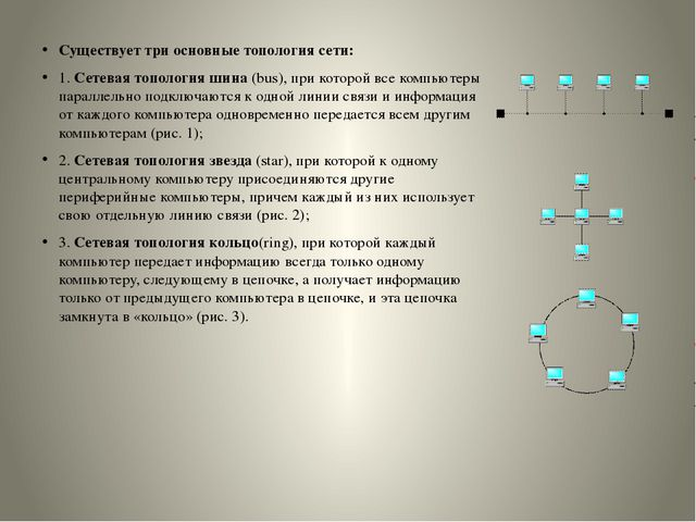 Существует три основные топология сети: 1.Сетевая топология шина(bus), при...