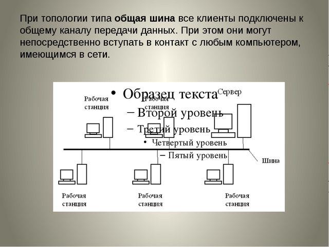 При топологии типаобщая шинавсе клиенты подключены к общему каналу передачи...