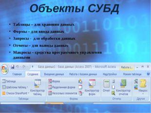 Таблицы – для хранения данных  Формы – для ввода данных Запросы - для обрабо