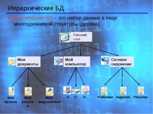 Иерархические БД Иерархическая БД – это набор данных в виде многоуровневой с