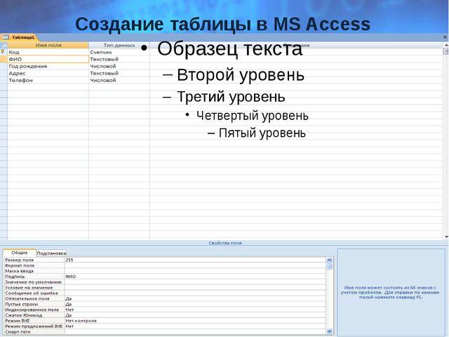 Создание таблицы в MS Access