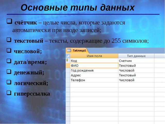 Основные типы данных счётчик – целые числа, которые задаются автоматически пр...