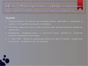 Задачи: Формирование механизма целенаправленных действий и движений в процесс