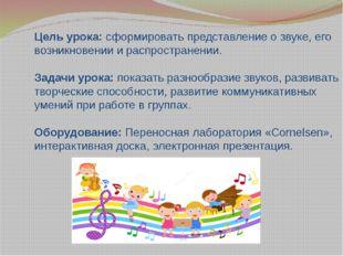 Цель урока: сформировать представление о звуке, его возникновении и распростр