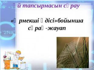 Үй тапсырмасын сұрау «Өрмекші әдісі»бойынша сұрақ-жауап