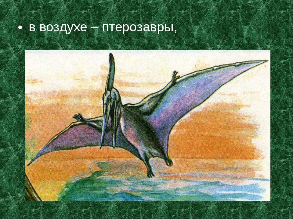 в воздухе – птерозавры,
