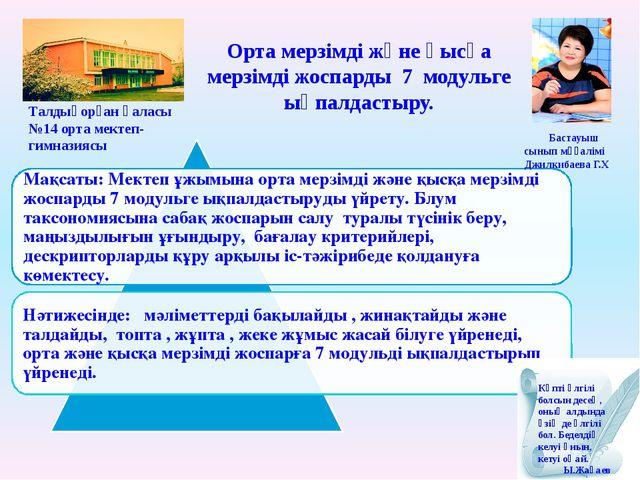 Бастауыш сынып мұғалімі Джилкибаева Г.Х Талдықорған қаласы №14 орта мектеп-...