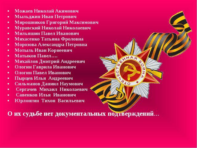 Можаев Николай Акимович Мыльджин Иван Петрович Мирошников Григорий Максимович...
