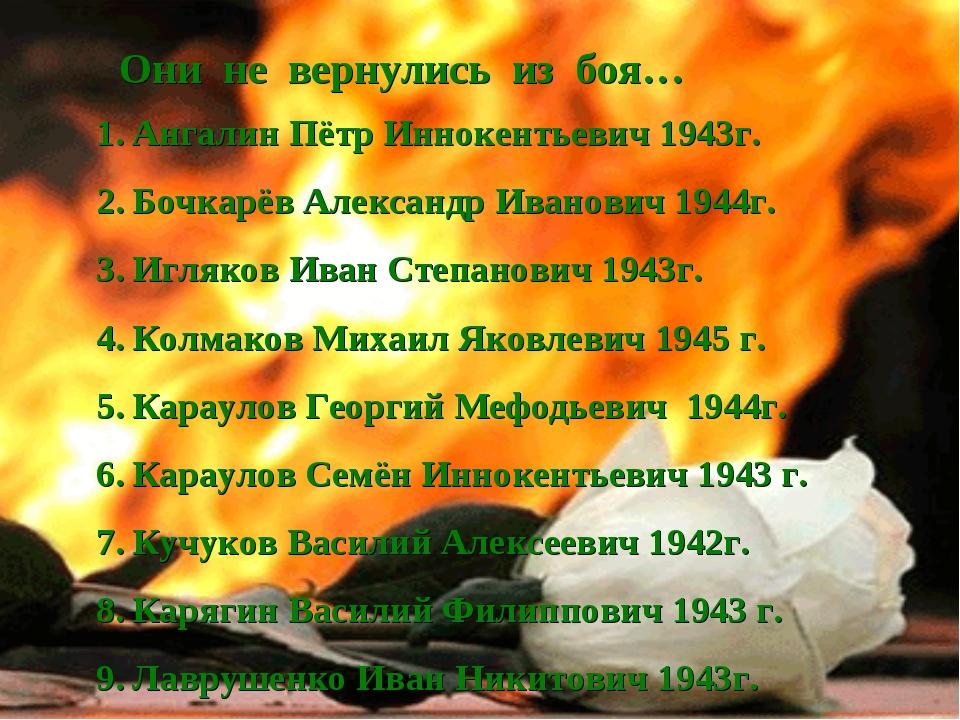 Они не вернулись из боя… Ангалин Пётр Иннокентьевич 1943г. Бочкарёв Александр...