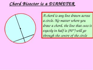 Chord Bisector is a DIAMETER A chord is any line drawn across a circle. No ma