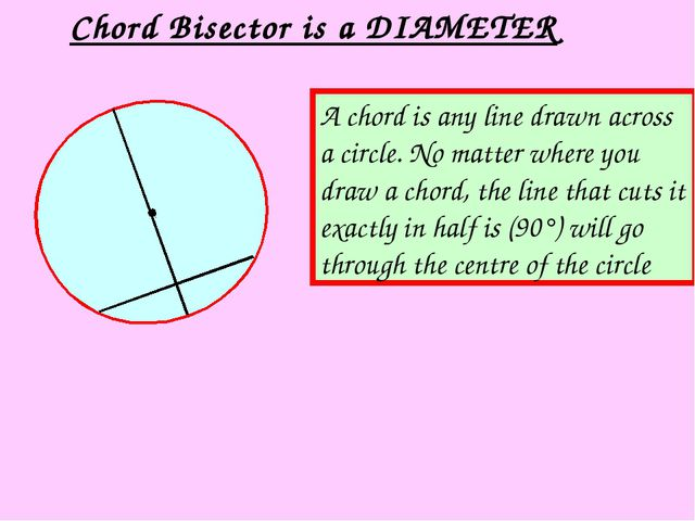 Chord Bisector is a DIAMETER A chord is any line drawn across a circle. No ma...