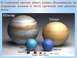 В Солнечной системе девять планет. Большинство их астрономы назвали в честь г