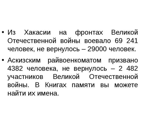 Из Хакасии на фронтах Великой Отечественной войны воевало 69 241 человек, не...
