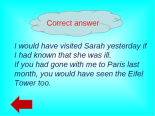 Correct answer I would have visited Sarah yesterday if I had known that she w