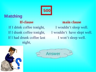 Matching Answer 500 If-clausemain clause If I drink coffee tonight,I would