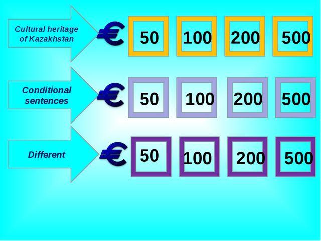 Cultural heritage of Kazakhstan Conditional sentences Different 50 500 50 100...