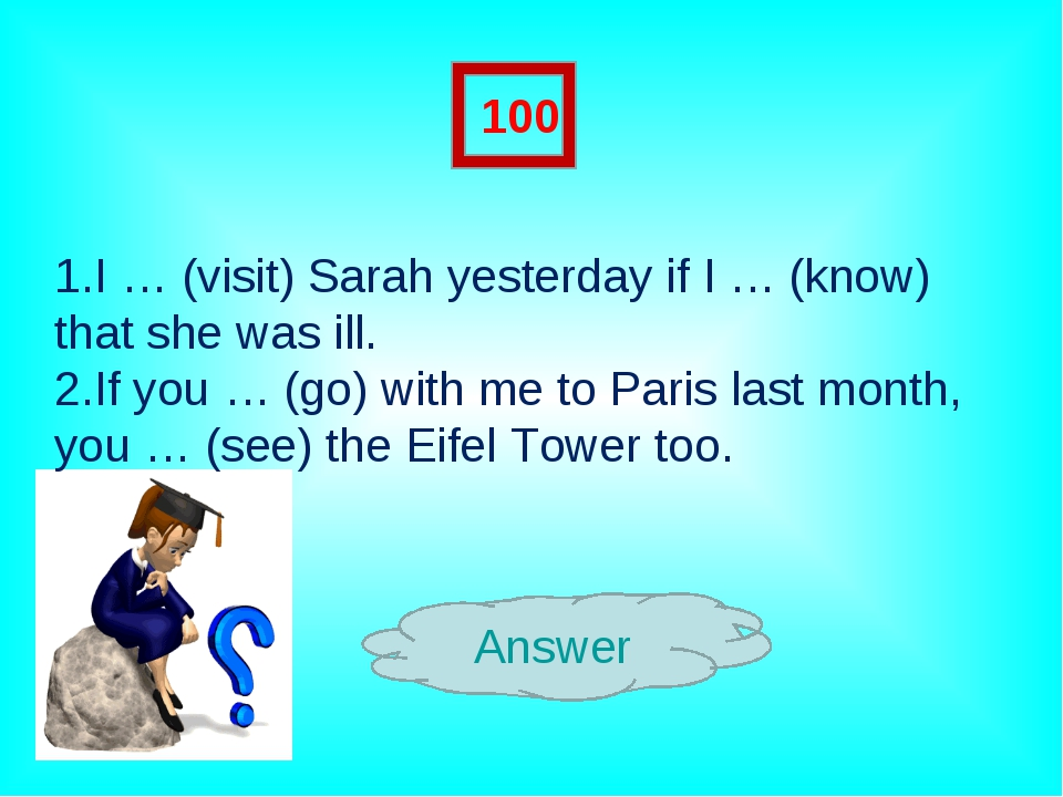Answer 100 1.I … (visit) Sarah yesterday if I … (know) that she was ill. 2.If...