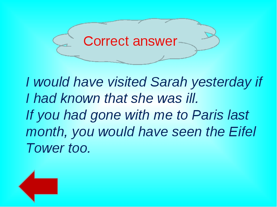 Correct answer I would have visited Sarah yesterday if I had known that she w...