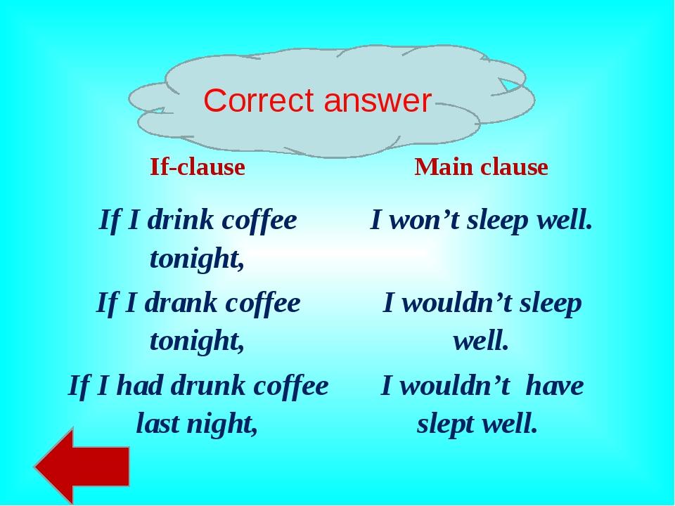 Correct answer If-clauseMain clause If I drink coffee tonight,I won't sleep...