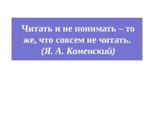 Читать и не понимать – то же, что совсем не читать. (Я. А. Коменский)