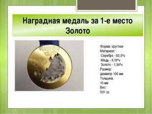 Наградная медаль за 1-е место Золото Форма: круглая Материал: Серебро - 92,5%