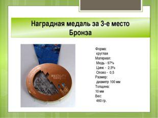 Наградная медаль за 3-е место Бронза Форма: круглая Материал: Медь - 97% Ци
