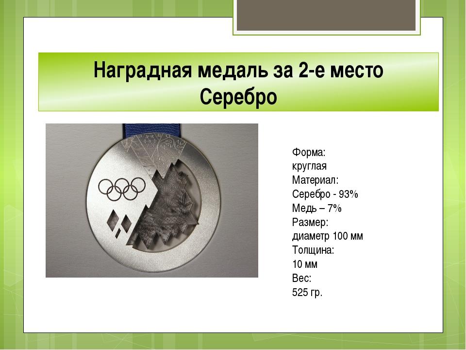 Наградная медаль за 2-е место Серебро Форма: круглая Материал: Серебро - 93...