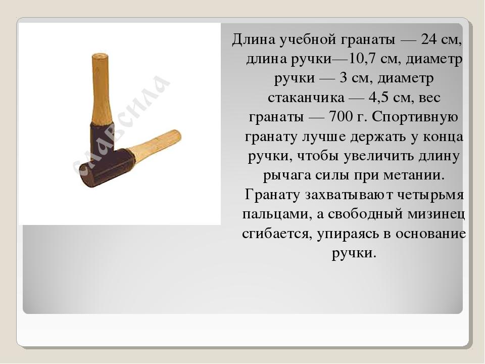Длина учебной гранаты — 24 см, длина ручки—10,7 см, диаметр ручки — 3 см, диа...