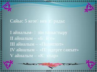 Сайыс 5 кезеңнен тұрады: I айналым- Өзін таныстыру II айналым – «Бәйге» III