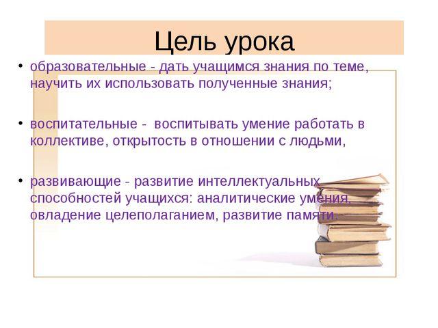 Цель урока образовательные - дать учащимся знания по теме, научить их использ...