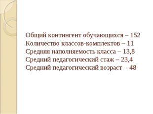 Общий контингент обучающихся – 152 Количество классов-комплектов – 11 Средня