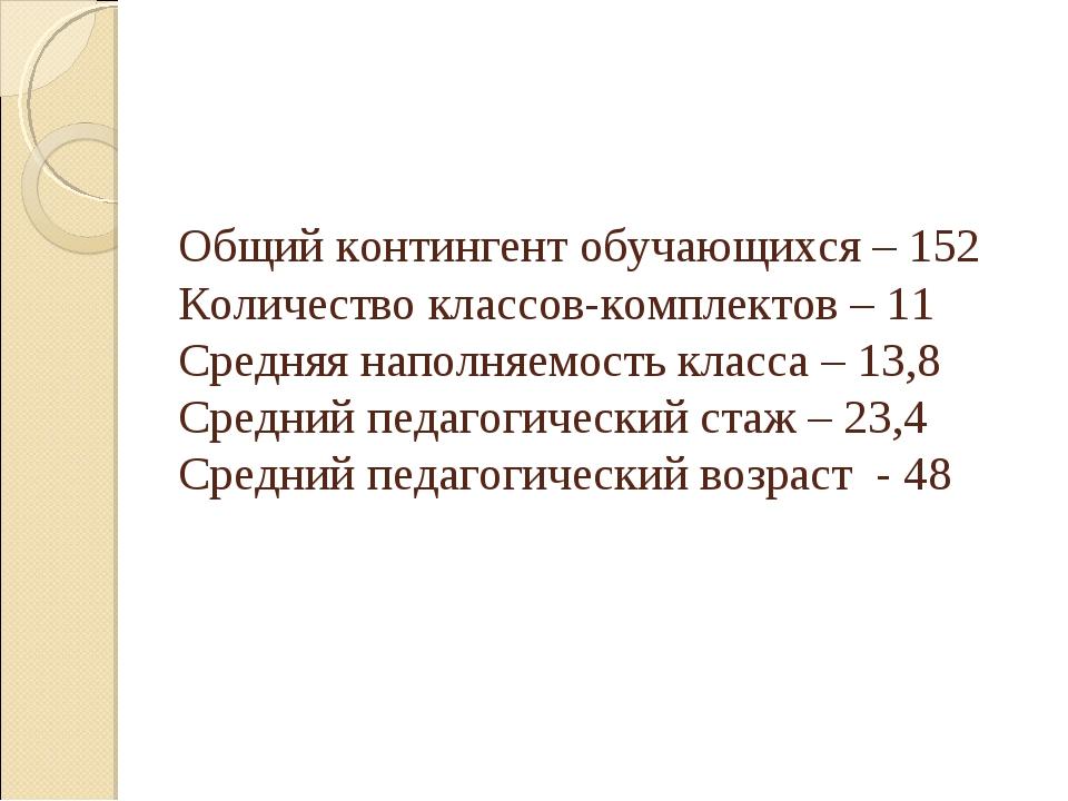 Общий контингент обучающихся – 152 Количество классов-комплектов – 11 Средня...