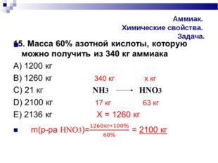 Аммиак. Химические свойства. Задача.