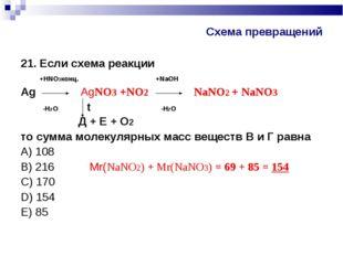 Схема превращений 21. Если схема реакции +HNO3конц. +NaOH Аg AgNO3 +NO2 NаNO2