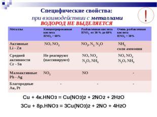 Cпецифические свойства: при взаимодействии с металлами ВОДОРОД НЕ ВЫДЕЛЯЕТСЯ