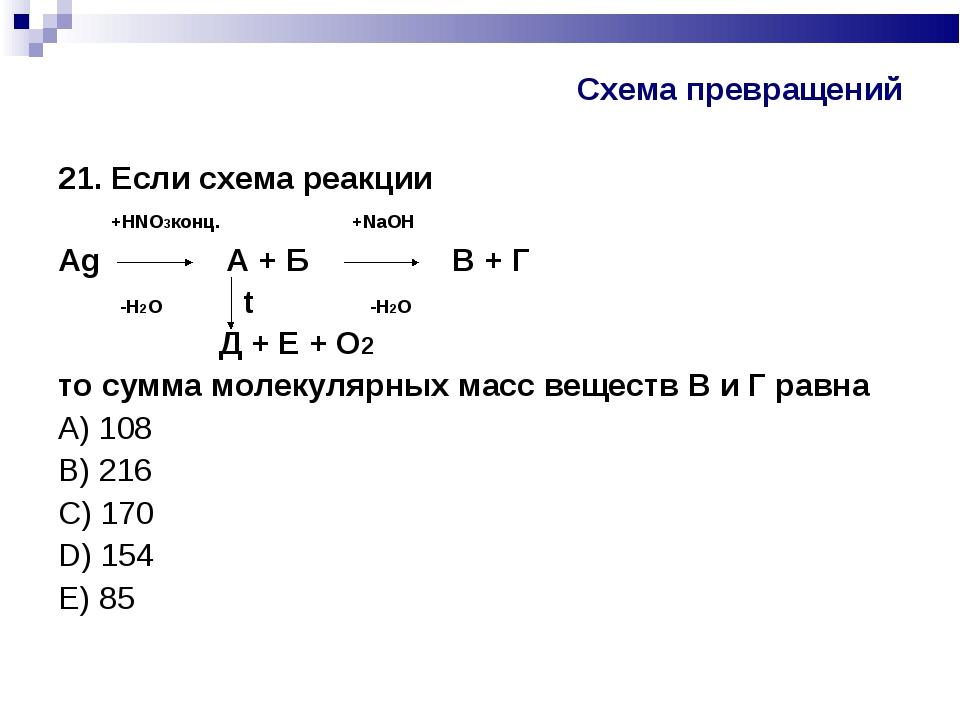 Схема превращений 21. Если схема реакции +HNO3конц. +NaOH Аg A + Б В + Г -H2O...