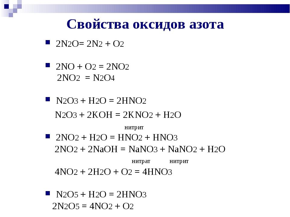 Свойства оксидов азота 2N2O= 2N2 + O2 2NO + O2 = 2NO2 2NO2 = N2O4 N2O3 + H2O...