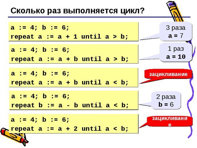 Сколько раз выполняется цикл? a := 4; b := 6; repeat a := a + 1 until a > b;...