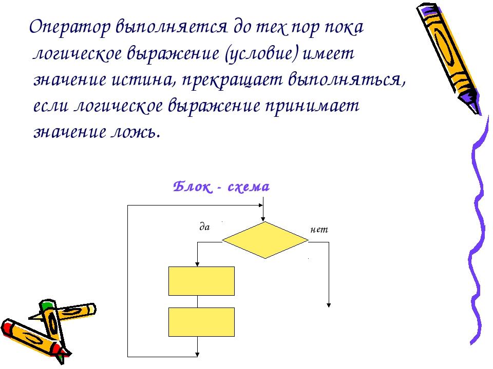 Оператор выполняется до тех пор пока логическое выражение (условие) имеет зн...