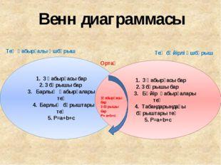 Венн диаграммасы 1. 3 қабырғасы бар 2. 3 бұрышы бар Барлық қабырғалары тең 4
