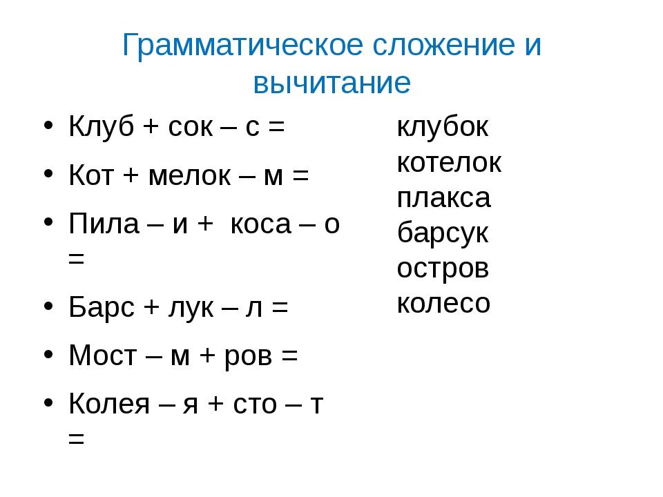 Грамматическое сложение и вычитание Клуб + сок – с = Кот + мелок – м = Пила –...