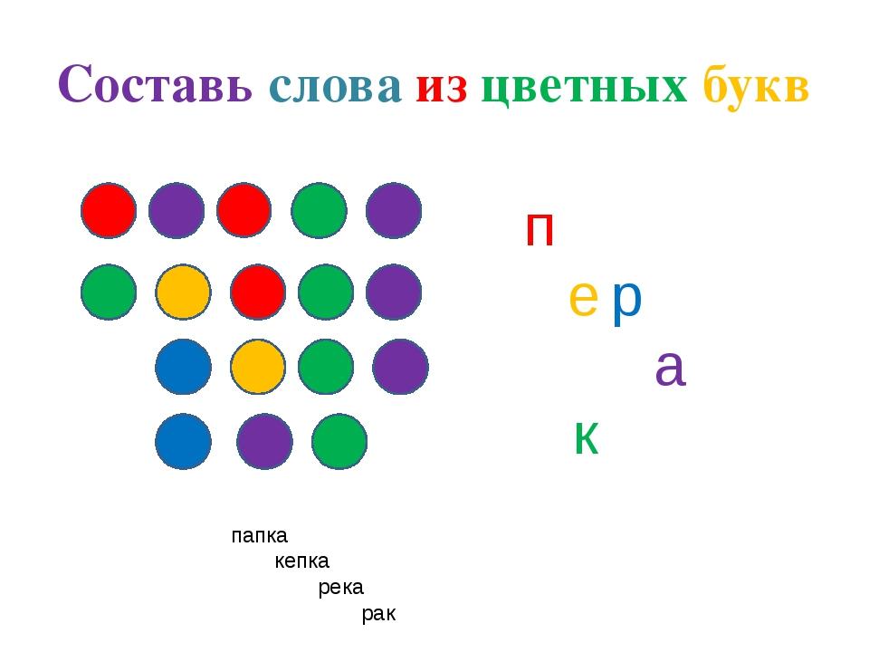 Составь слова из цветных букв п ер а к папка кепка река рак